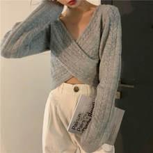 Осенне зимний женский пуловер с v образным вырезом серая Асимметричная