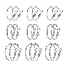 9 par/set ronda Pendientes de bucle de Color plata círculo Aros Huggies pendiente para las mujeres criolla de la joyería Pendientes de botón Pendientes Aros Femme