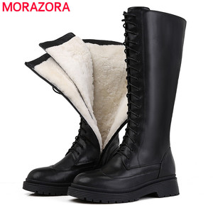 MORAZORA 2020 New Genuine leather boots women shoes lace up warm winter boots nature sheep wool mid calf boots ladies botas