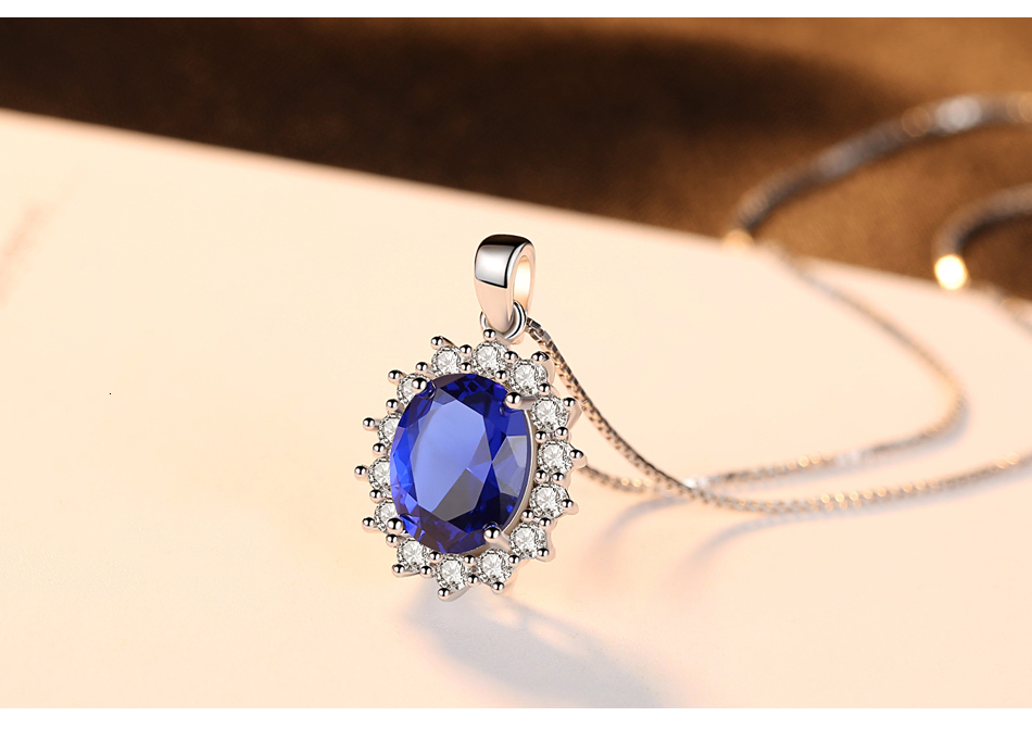 He136e37ed761424ab899b57d0eab057eI CZCITY Elegant Oval Princess Diana William Sapphire Pendant Necklace for Women 100% 925 Sterling Silver Charms Necklace Jewelry