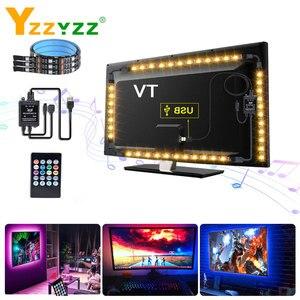 5 В USB регулируемый светильник ing RGB гибкая лента с музыкальным контроллером 5050SMD RGB Светодиодная лента светильник для телевизора подсветка д...