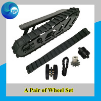 A Set Rubber Track + Metal Wheel Frame For Large Load T007 Robot Chassis for DIY Wheel Set For Tracked Vehicle RC Robot Toy DIY