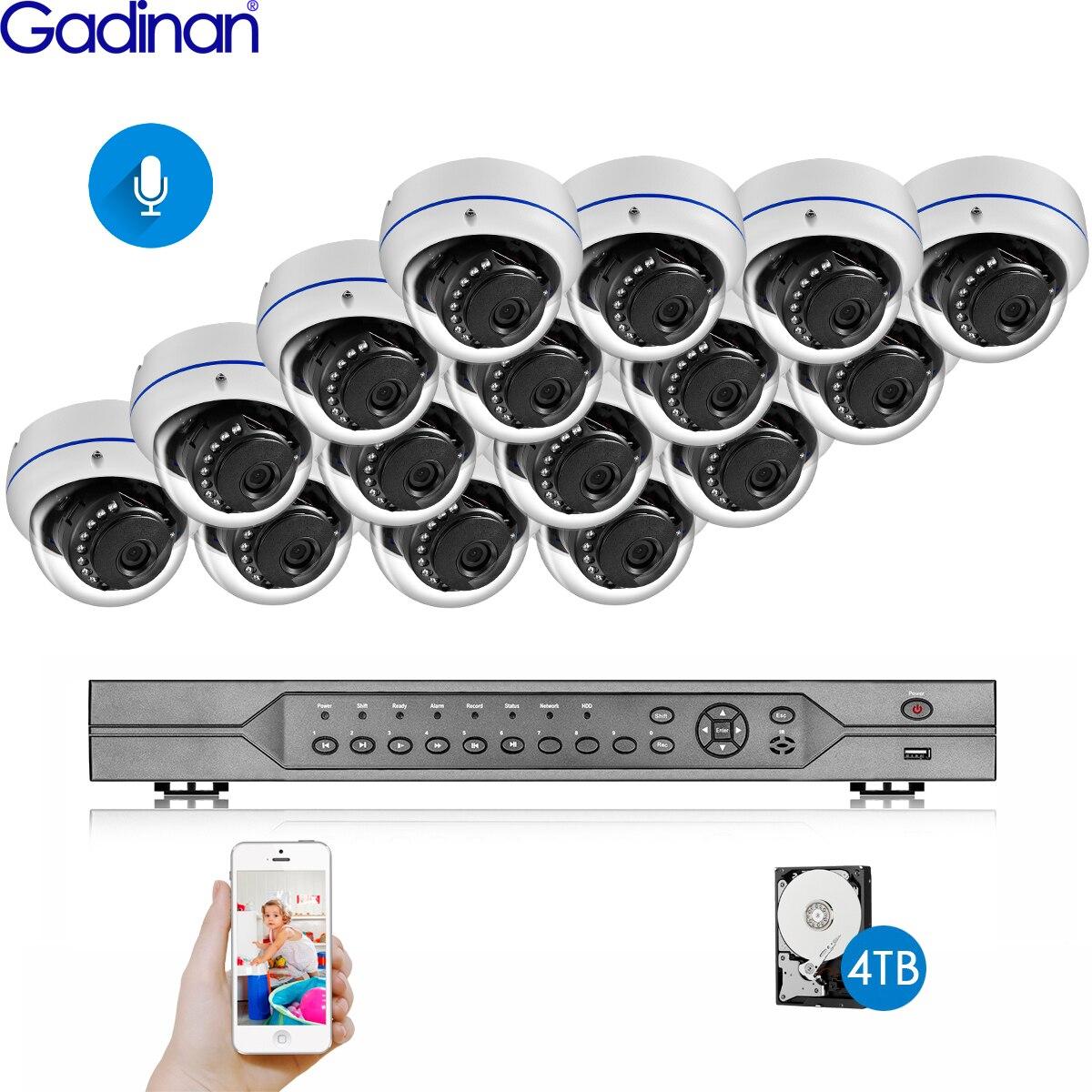 Gadinan 16CH POE NVR Kit HD SONY IMX335 5MP 4MP système de caméra de vidéosurveillance Audio extérieur étanche caméra IP POE ensemble de Surveillance à domicile