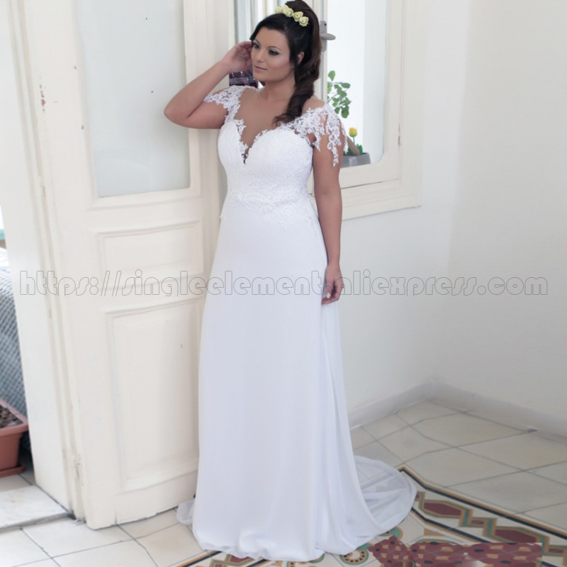 Cheap White Plus size Sweet Beach Bridal Party Applique Wedding Dresses