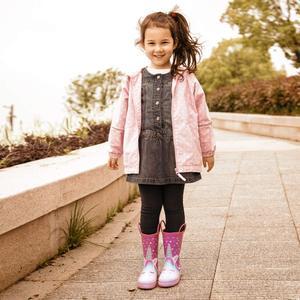 Image 4 - Детские резиновые сапоги KomForme для девочек, розовые резиновые сапоги в форме сердца, единорога, водонепроницаемая обувь для воды, резиновая обувь, детские сапоги для девочек