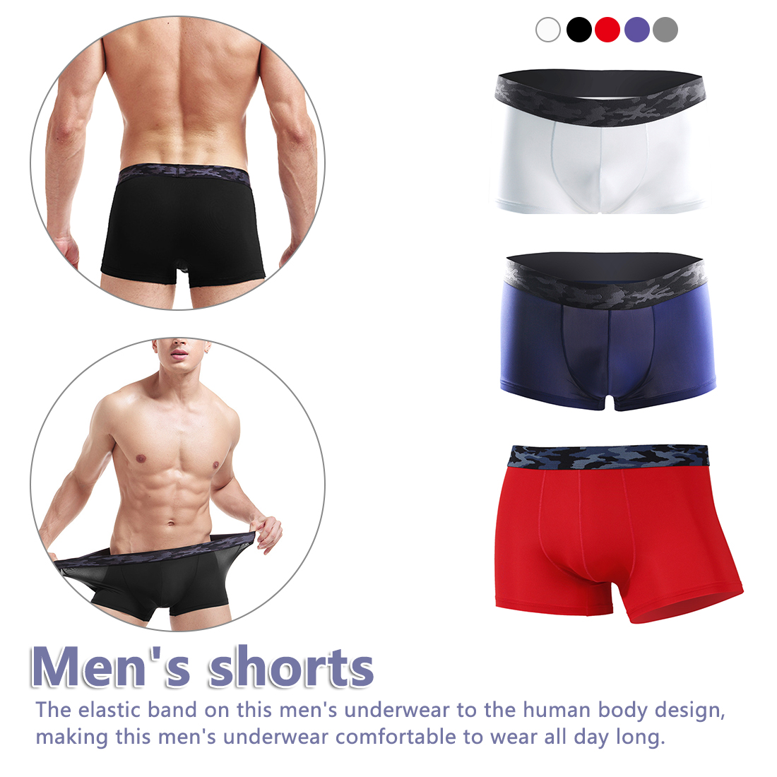Men/'s Underpants Ultra Elastic Quick Drying  Boxer Shorts Breathable Underwear