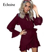 2019 Ruffles Long Sleeve spring Autumn Dress Women Mini Tuni