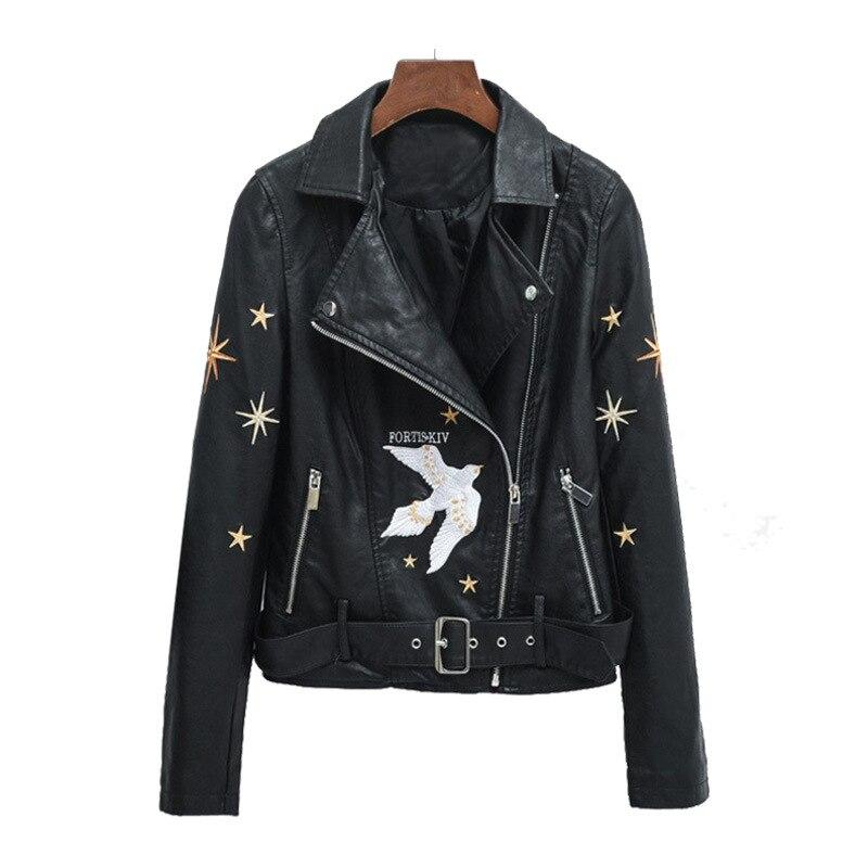 2019 Women Autumn Winter Punk Black Motorcycle Faux   Leather   Jackets Zipper Basic Coat Turn-down Collar Biker Jacket With Belt