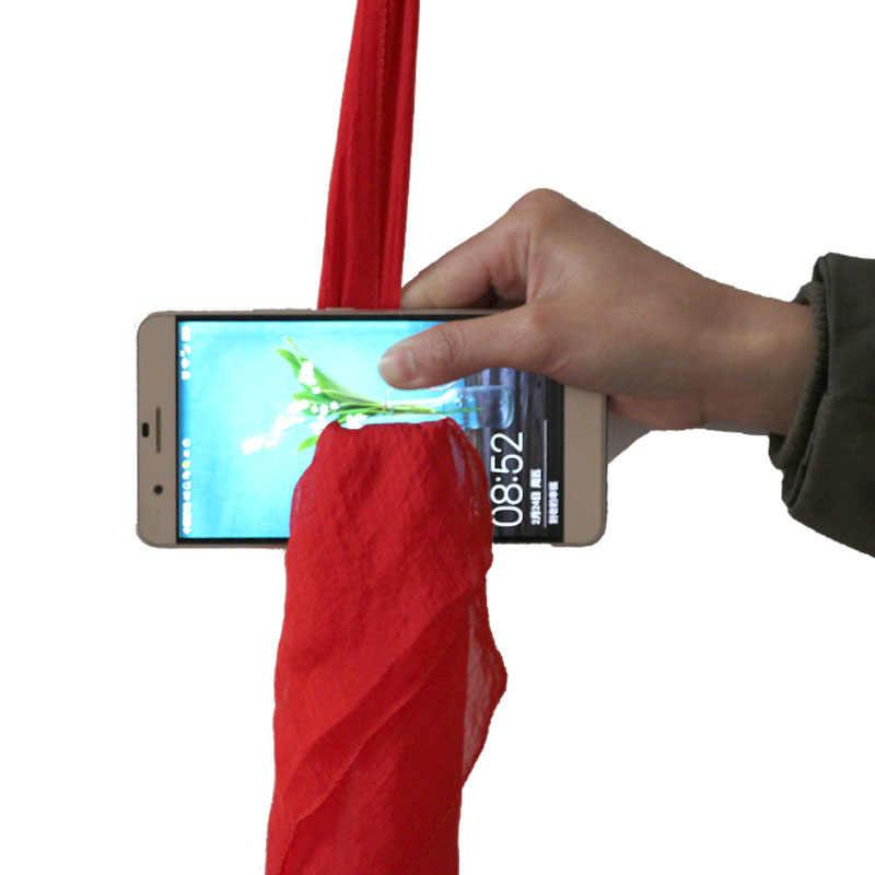 Śmieszne jedwabiu dla magów szalik przez telefon szalik Close-up magiczne rekwizyty zabawki do sztuczek etapie narzędzia