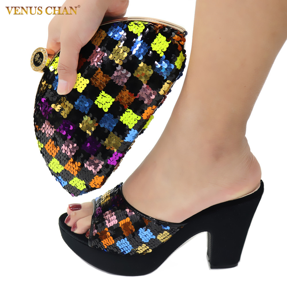 Latest African Matching Shoes and Bag in Black Color High Quality Italian with Shinning Crystal African Lady Shoes and Bag