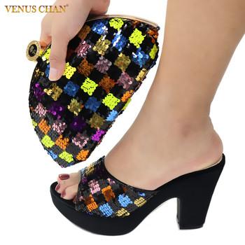 Najnowsze afrykańskie dopasowane buty i torby w kolorze czarnym wysokiej jakości włoskie z błyszczącymi kryształowymi afrykańskimi buty damskie i torby tanie i dobre opinie Venus Chan Pantofle Spike obcasy CN (pochodzenie) Super Wysokiej (8cm-up) Pasuje prawda na wymiar weź swój normalny rozmiar