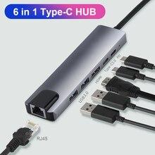 2 USB 3.0 4K compatibile HDMI tipo-c RJ45 6 in 1 USB C HUB Docking 100W PD adattatore di ricarica convertitore di espansione del telefono portatile