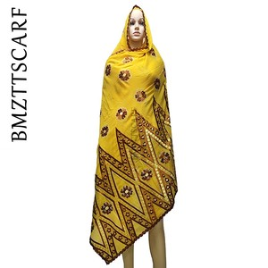 Image 1 - 100% baumwolle Schal Afrikanische Frauen Schals stickerei muslimischen frauen große baumwolle schal für schals BM973