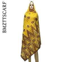 100% lenço de algodão africano feminino scarfs bordado muçulmano grande lenço de algodão para xales bm973