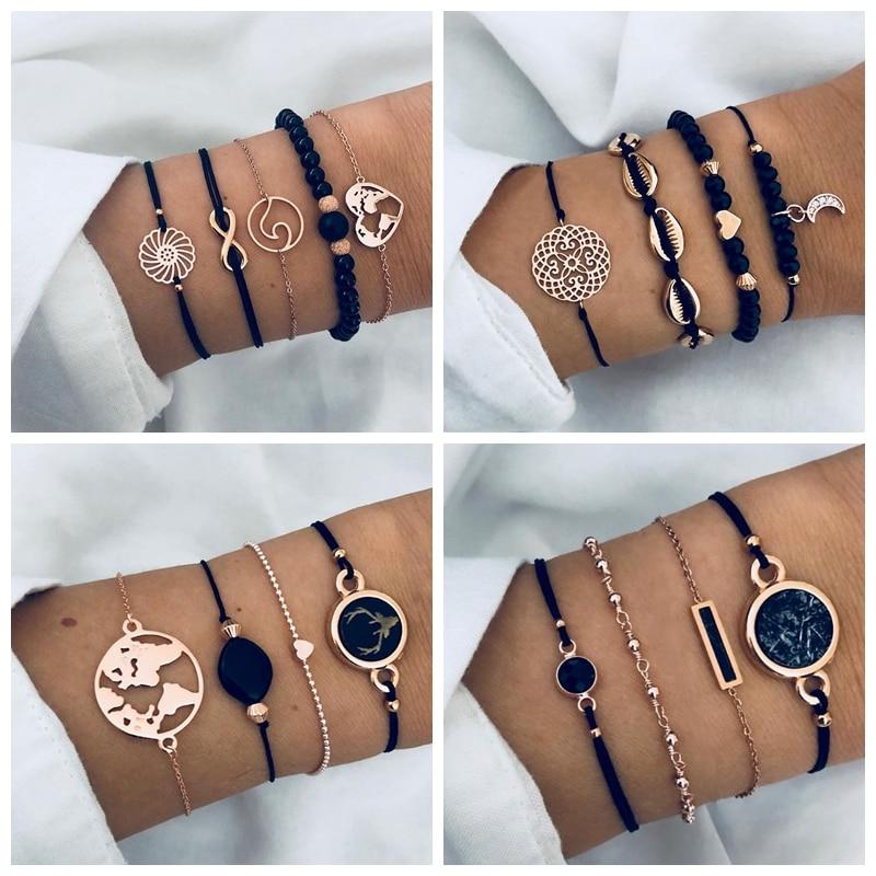 Vienkim Bohemian Black Gem Stone Beads Bracelets Bangles For Women Heart Map Ocean Gold Color Chain Bracelets Sets Jewelry Gifts