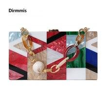 Nuevo, bolsas de mensajero para mujeres de moda de la marca de lujo de acrílico geométrico de celosía Patchwork bolso fiesta bolso de embrague mujer noche bolsa