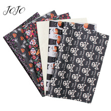 JOJO BOWS 22*30cm 6pcs Faux Synthetic Leather Glitter Fabric Set Halloween Printed Sheets For Home Textile Sewing DIY Hair Bows
