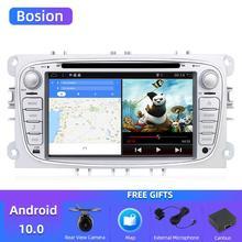 Bosion 2 الدين أندرويد 10.0 مشغل أسطوانات للسيارة لفورد فوكوس مونديو s max ربط راديو سيارة HD مشغل وسائط متعددة لتحديد المواقع نافي مع الكاميرا