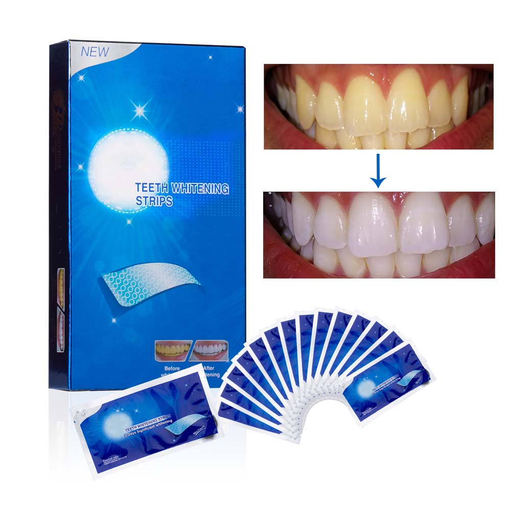 28Pcs/14Pair Advanced White Gel Teeth Whitening Strips Stain Removal Oral Hygiene Clean Double Elastic Bleaching Dental Tool(China)