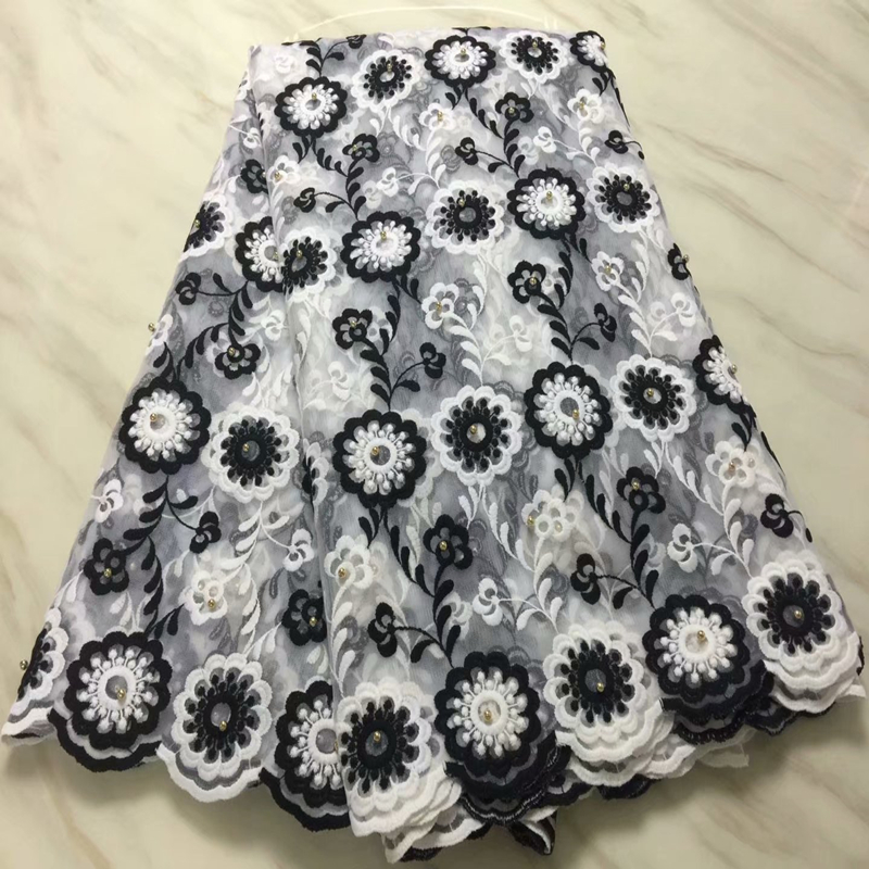 2019 Latest Black White African Lace Fabric High Quality French Nigerian Mesh Lace Fabric With Beads For Wedding Party Dress