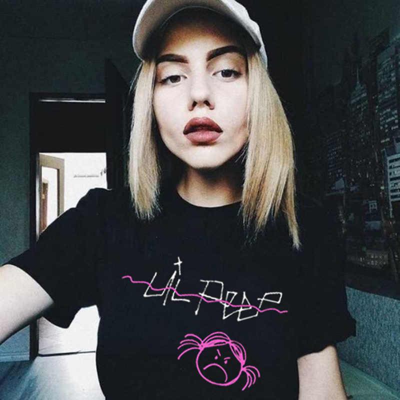 Baru Harajuku Lil Peep Kaos Wanita Bintang Punk Lengan Pendek Atasan & Kaus Bayi Menangis Bordir Streetwear T-shirt Wanita