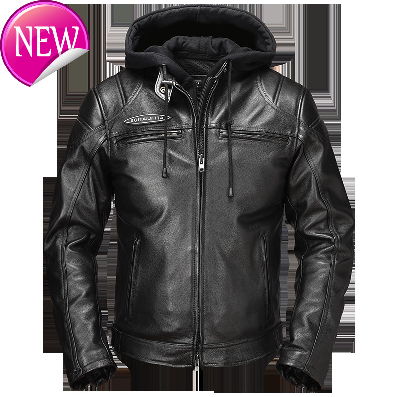 Black Men 2020 Hood American Motorcycle Leather Jacket Plus Size XXXXL Genuine Thick Cowhide Slim Fit Leather Coat FREE SHIPPING 1