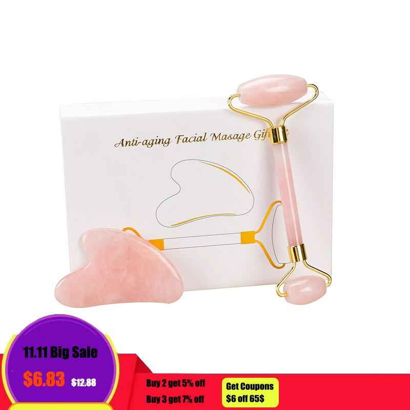 Rose Quartz Jade rouleau Guasha silencieux Double tête visage rouleau masseur boîte-cadeau pour crème pour le visage utiliser Anti Cellulite rides