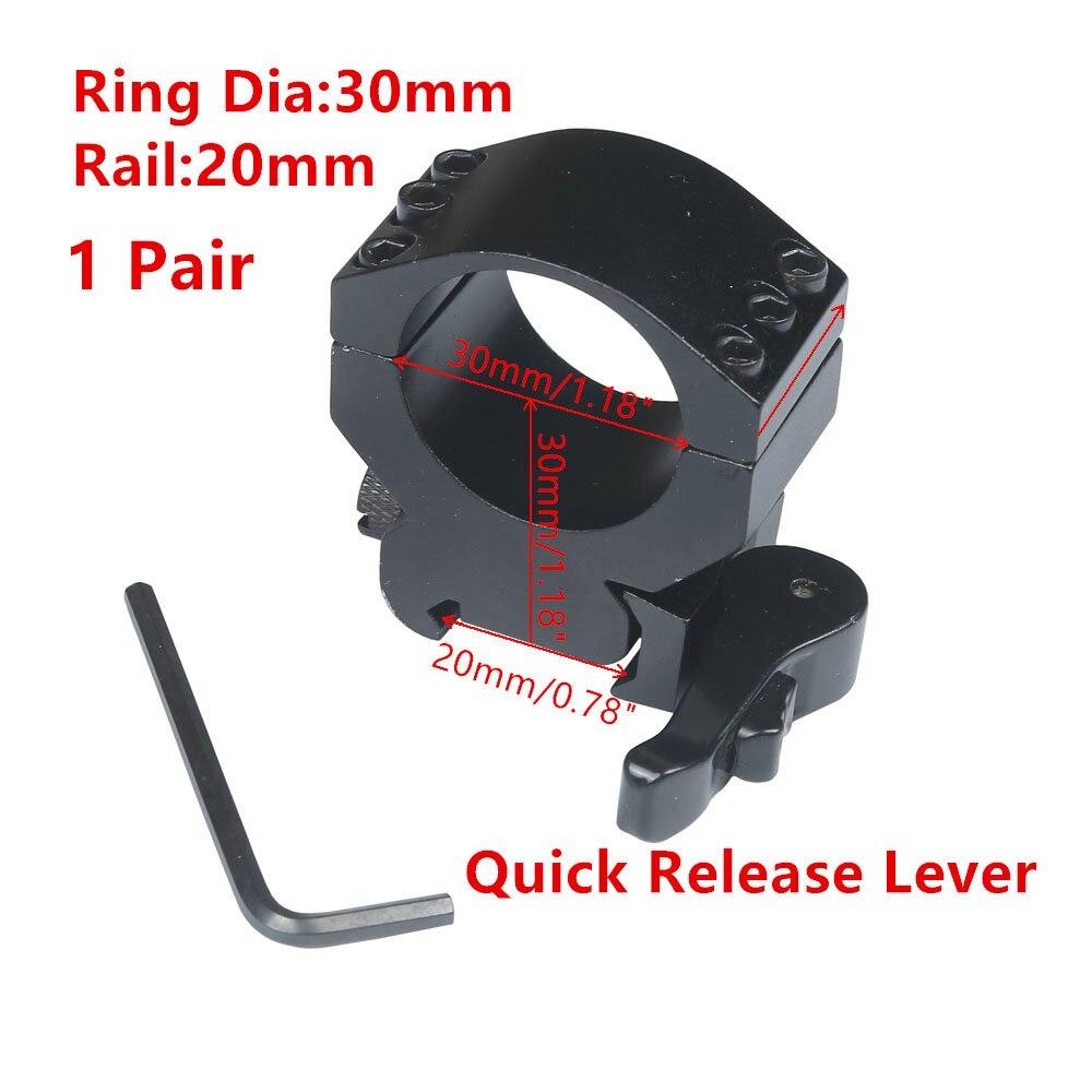 Scope Mount 30mm Ring Heavy Duty 6 Bolts 20mm Weaver Picatinny Rail QD Quick Detach Lever Lock Mount M16 Gun Lasers
