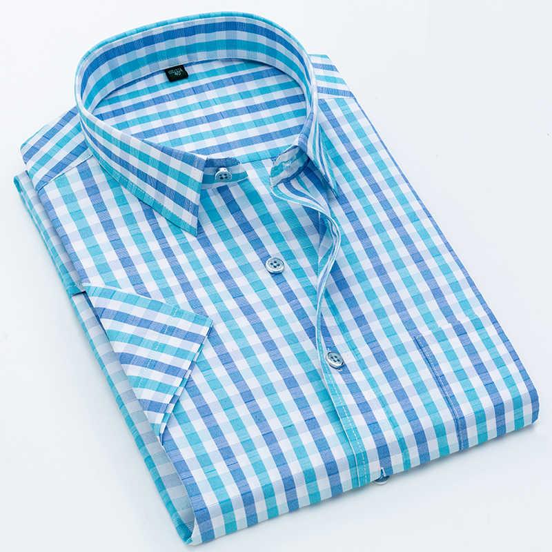 Männer Hemd Plaid Kurzarm 2020 Sommer Gestreiften Kleid Shirt Formale Casual Slim Fit Tasche Hohe Qualität Business Dropshipping
