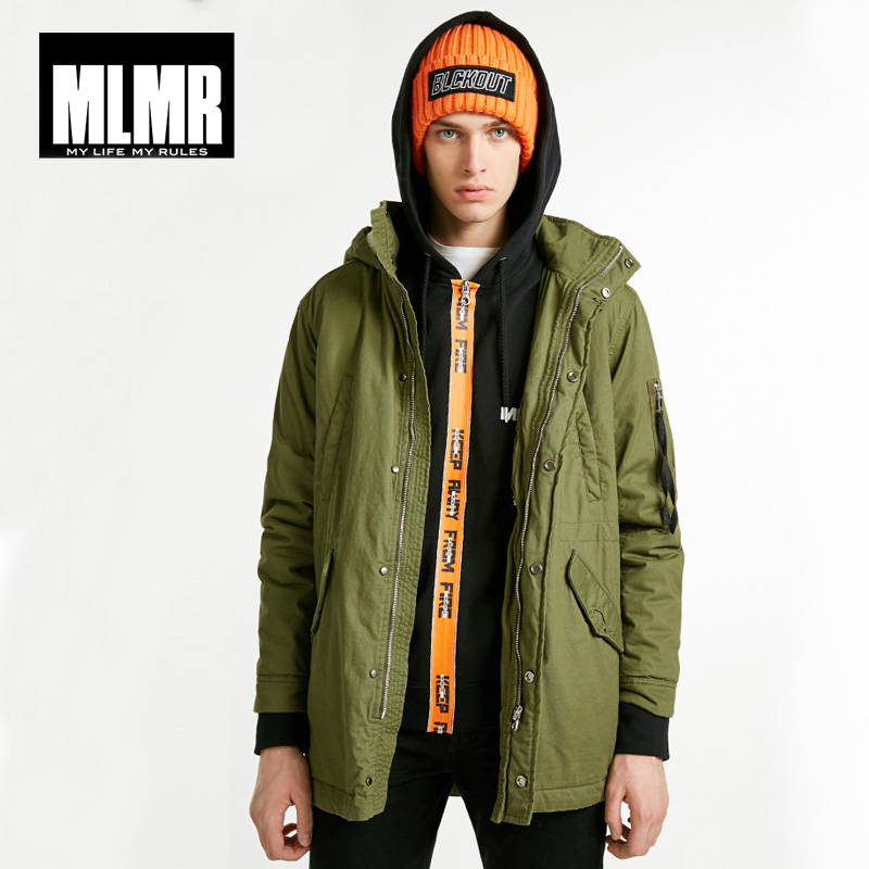 MLMR Winter Mens Autumn & Winter Mid-length Hooded Cotton Coat|218309528