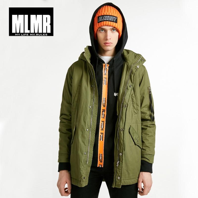 MLMR Winter Mens Autumn & Winter Mid-length Hooded Cotton Coat|218309528