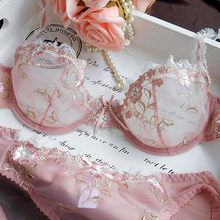 Women's underwear set summer ultra-thin steel ring sexy underwear lace transparent bra two-piece comfortable factory outlet