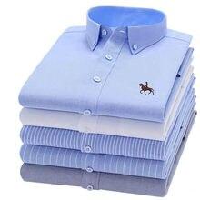 100% algodão oxford xadrez cor sólida listrado camisa topos casual camisa de manga longa fino ajuste camisa masculina roupas sociais coreanas