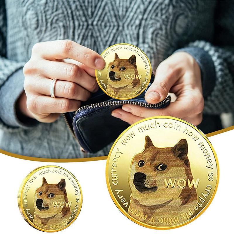 1pcs Gold/Silver Plated Ethereum Ripple Bitcoin Dogecoin Currency Commemorative Coins Shiba Inu Doge Coin Desktop Ornaments 1
