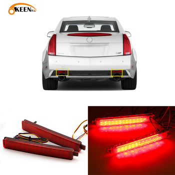 2Pcs For Cadillac CTS CTS-V 2008 2009 2010 2011 2012 2013 Led Rear Bumper Reflectors Light Fog Lamp Taillight Braking Waring image