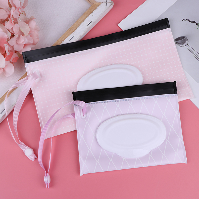 Eco-Friendly Baby Wipes Box Wet Wipe Box Cleaning Carrying Bag Clamshell Snap Strap Wipe Container Case Changing Accessories
