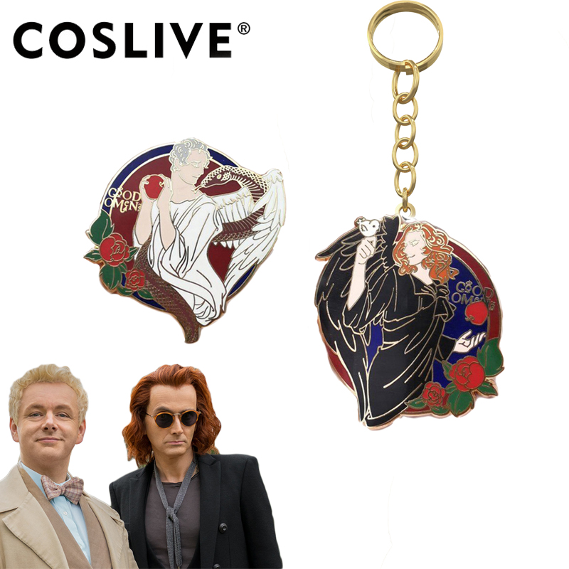 COSLIVE Good Omens Aziraphale Crowley Keychain Jewelry Christmas Gift Unisex Cosplay Accessories Halloween Gifts