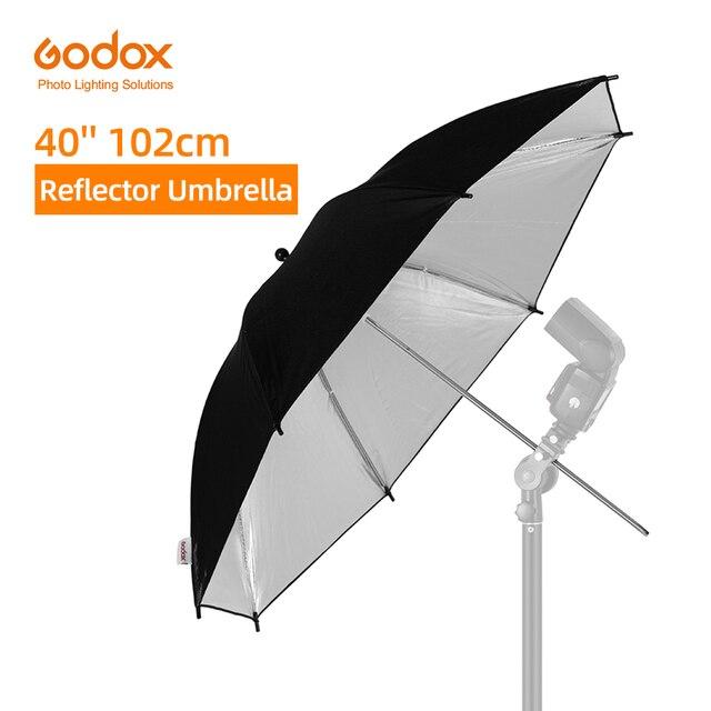 "Godox 40"" 102cm Reflector Umbrella Photo Studio Flash Light Grained Black Silver Umbrella"