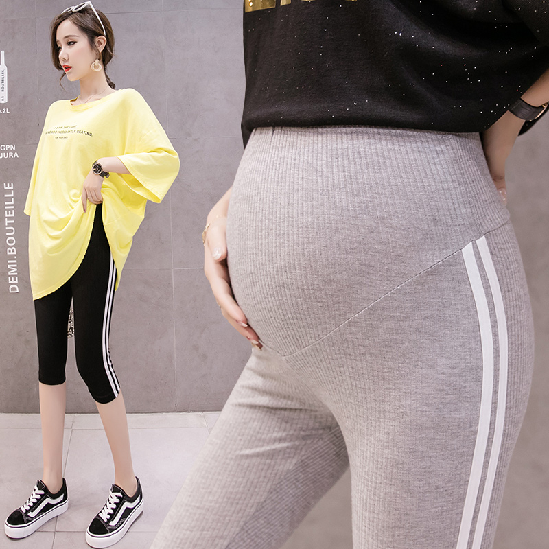 071# 2020 Summer Thin Skinny Maternity Legging 7/10 Length Short Capris Clothes for Pregnant Women Casual Belly Pregnancy Pants