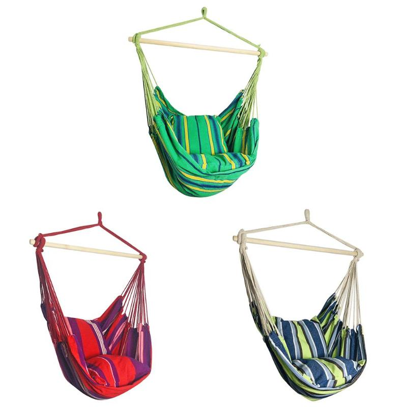Hammock Hanging Rope Chair Garden Hanging Chair Swing Chair Seat With 2 Pillows For Garden Use (Stick Not Include)