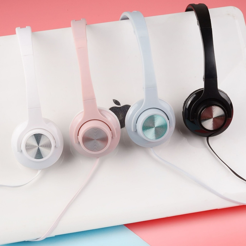 New EX-32 colorful CD pattern head-mounted large headphones K song can call mobile phone computer general game big Headfones image