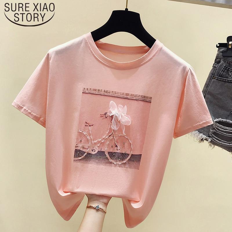Pink Shirt 2019 Summer Short Sleeve Shirt Women Tops Print Ladies Shirt Camisetas Feminina Fashion O-neck T Shirt Blusas 4767 50