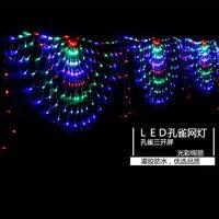 EU Plug Ac220v Led Net Mesh String Light 3pcs/set Peacock Garden TV Wall Background Decoration Fairy Light Wedding Party