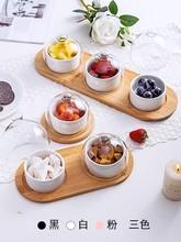 Japanese tableware black ceramic dessert bowl fruit platter creative glass cover household snack plate dried fruit cake plate