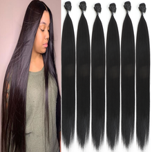 24 inch 240G Straight Hair weave Bundles For Women 6 Bundles Deal Natural Color Can be Style & Permed Synthetic Hair Extensions(China)