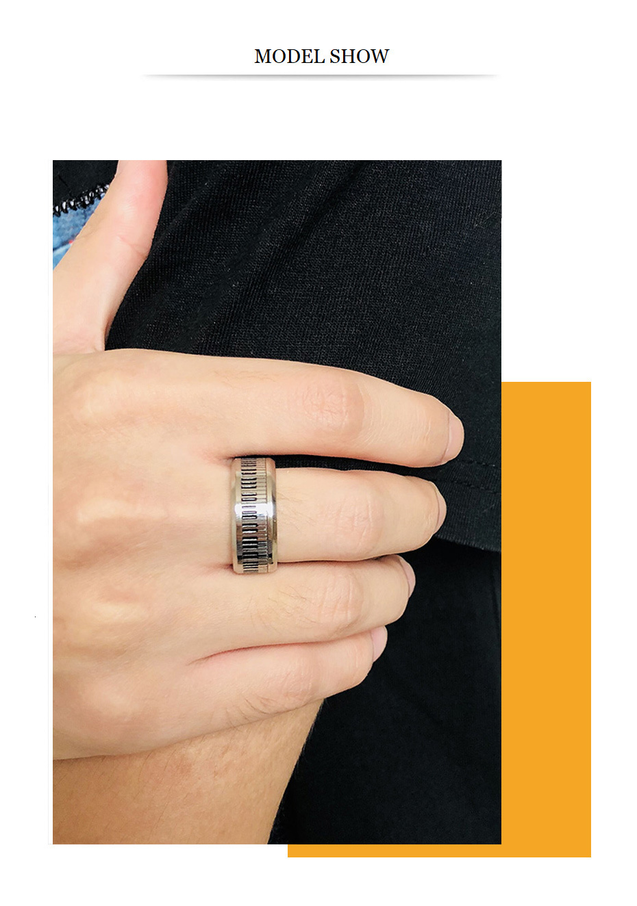 Vnox Piano Ring Stainless Steel Band for Music Lover