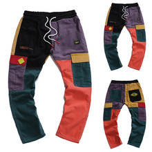 Jogging Pocket Pant 2019 Fashion Mens Hip-Hop Zipper Cargo Trousers Male Patchwork Pants L0827