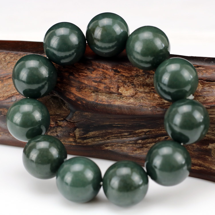 Natural Hetian Round Beads Jade Bracelets Add Certificate  Ink Jade Tianqing Jade Bracelet 12-18mm Jade Jewelry