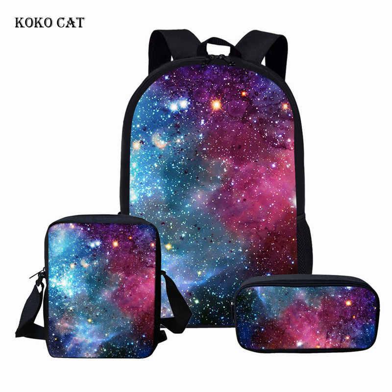 KOKO gato galaxia espacio impreso mujeres viaje Mochila adolescentes niñas mochilas Escolares conjunto niños Mochila Infantil