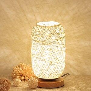 Image 2 - الخشب الروطان خيوط كرات إضاءة الجدول مصباح غرفة ديكور فني المنزل مكتب الخفيفة